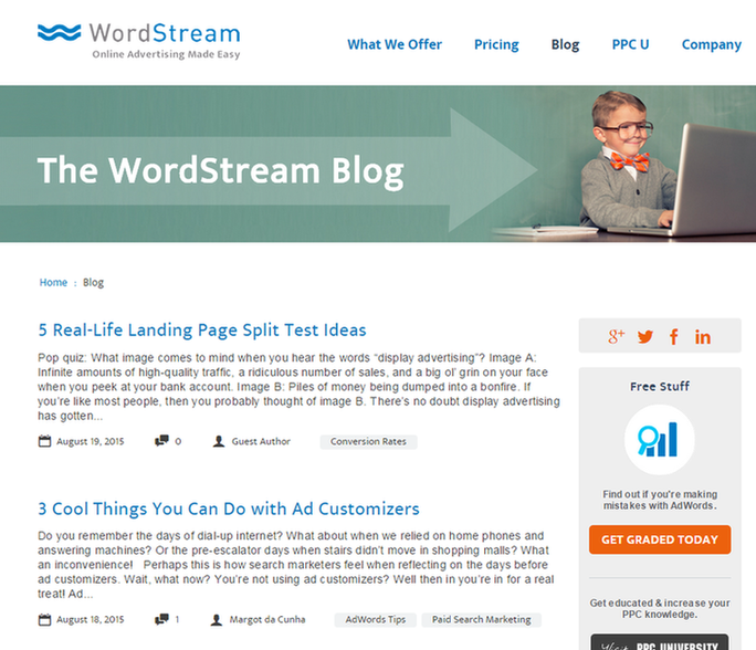 Inbound marketing strategy screenshot of WordStreams blog