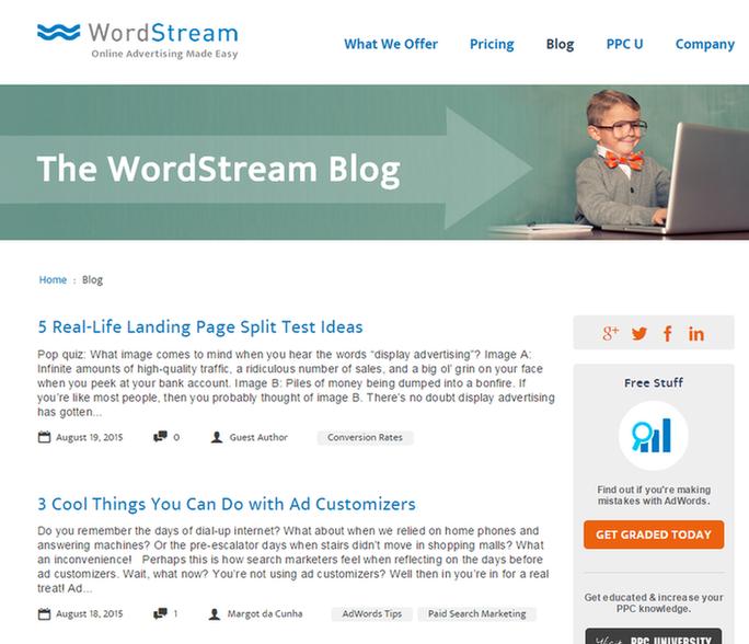 Inbound marketing strategy screenshot of WordStreams blog
