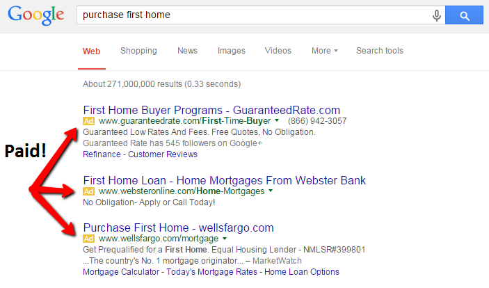 Inbound marketing strategy showing paid results on SERPS