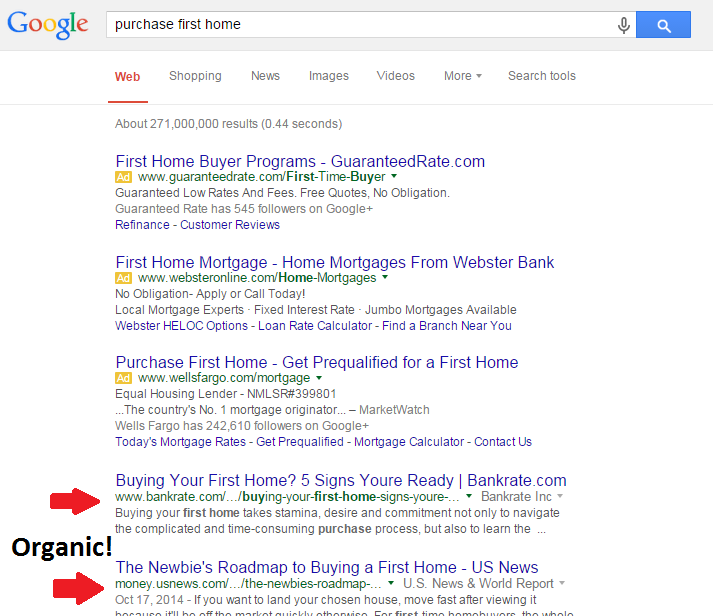 Inbound marketing strategy screenshot showing organic results on SERPS