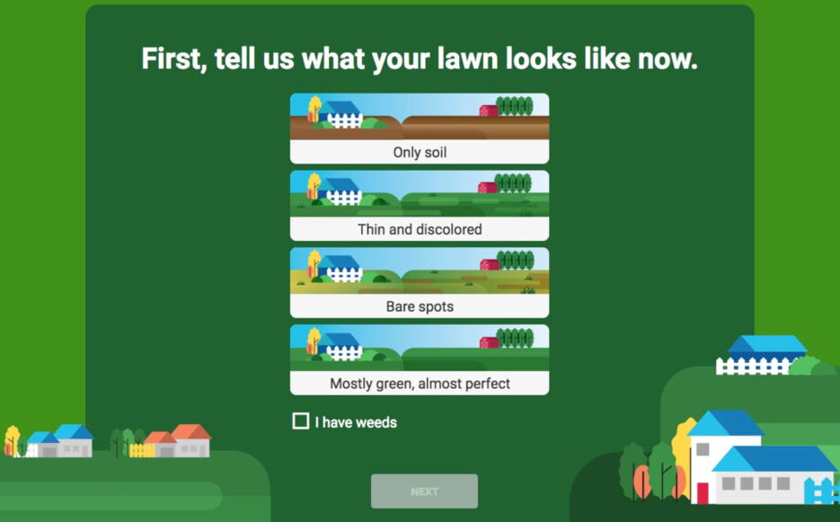 Increase conversions Lowe's lawn guide example
