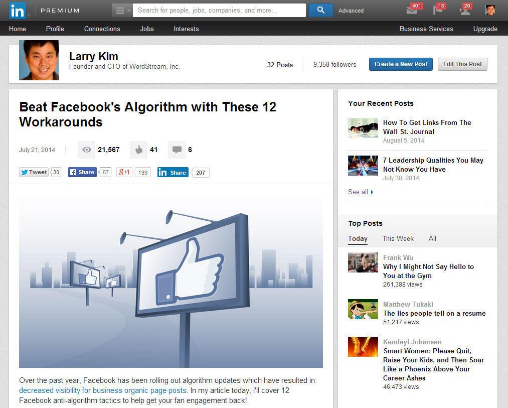 Augmentez le trafic vers votre site Web Profil LinkedIn Larry Kim
