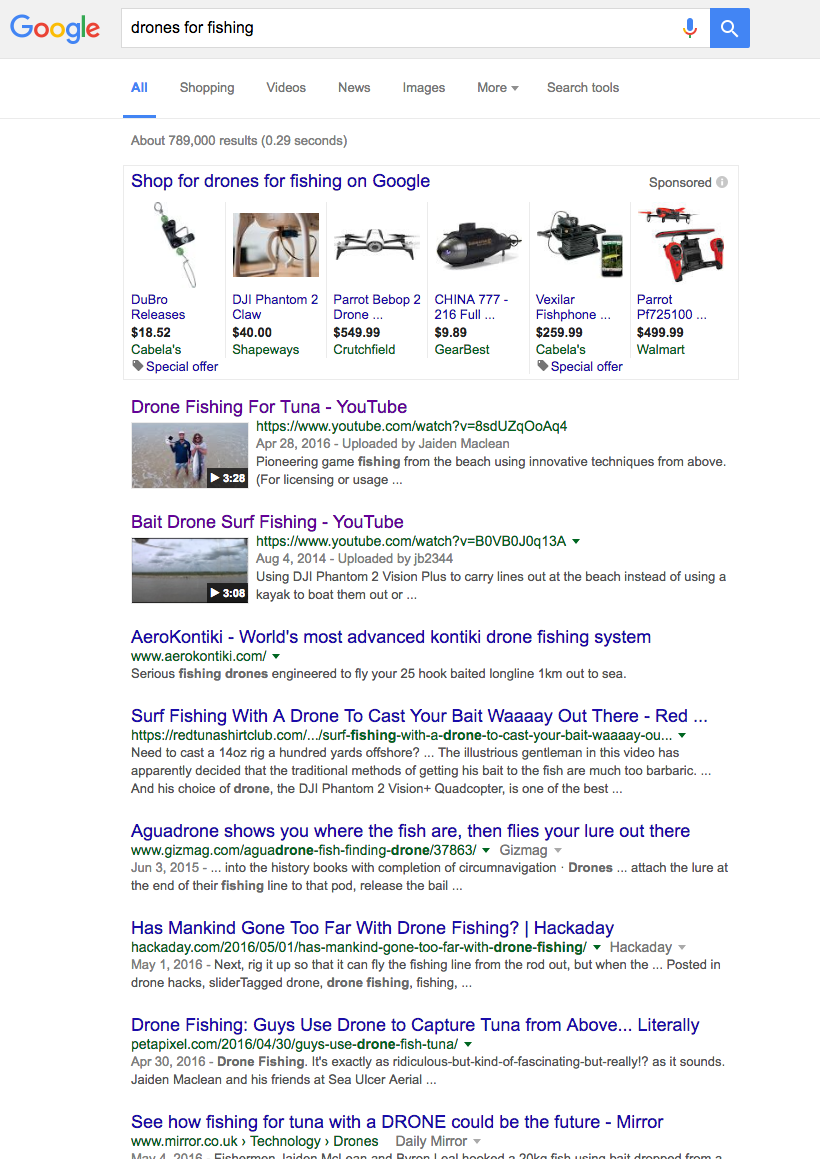 Influencer marketing for content promotion drone fishing SERP