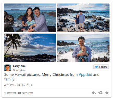 Influencer marketing Larry Kim family tweet