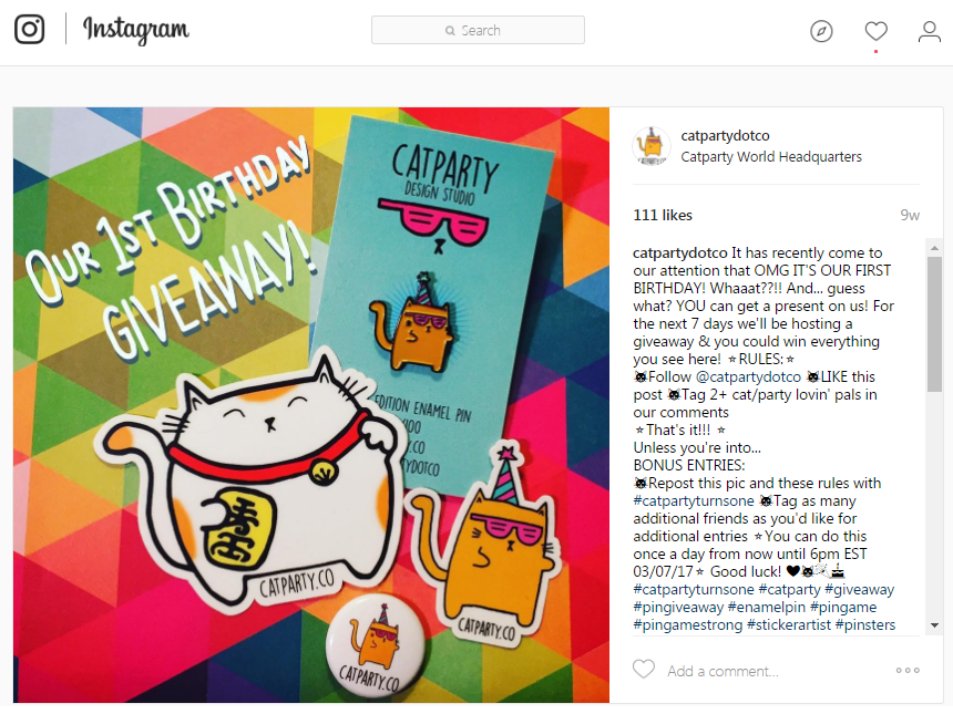 Instagram giveaways CATPARTY contest post