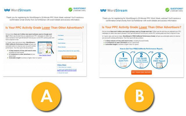 Instagram giveaways WordStream web form AB test example