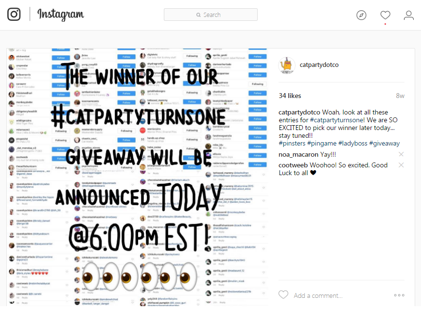 Instagram giveaways winner announcement post