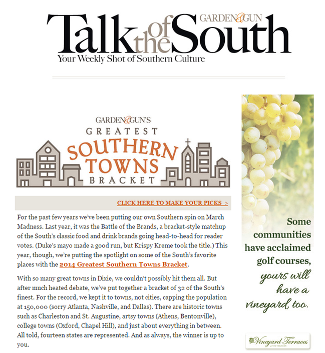 Is email marketing effective Garden & Gun Talk of the South newsletter