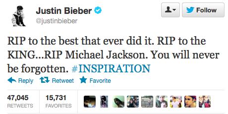Death of Michael Jackson tweets