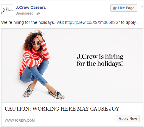 JCrew Holiday Facebook Ad