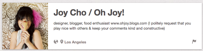 Joy Cho Number One Best Pinterest User to Follow