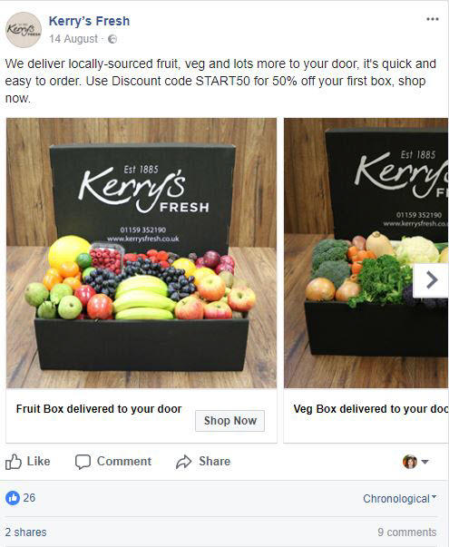facebook ads kerry's fresh