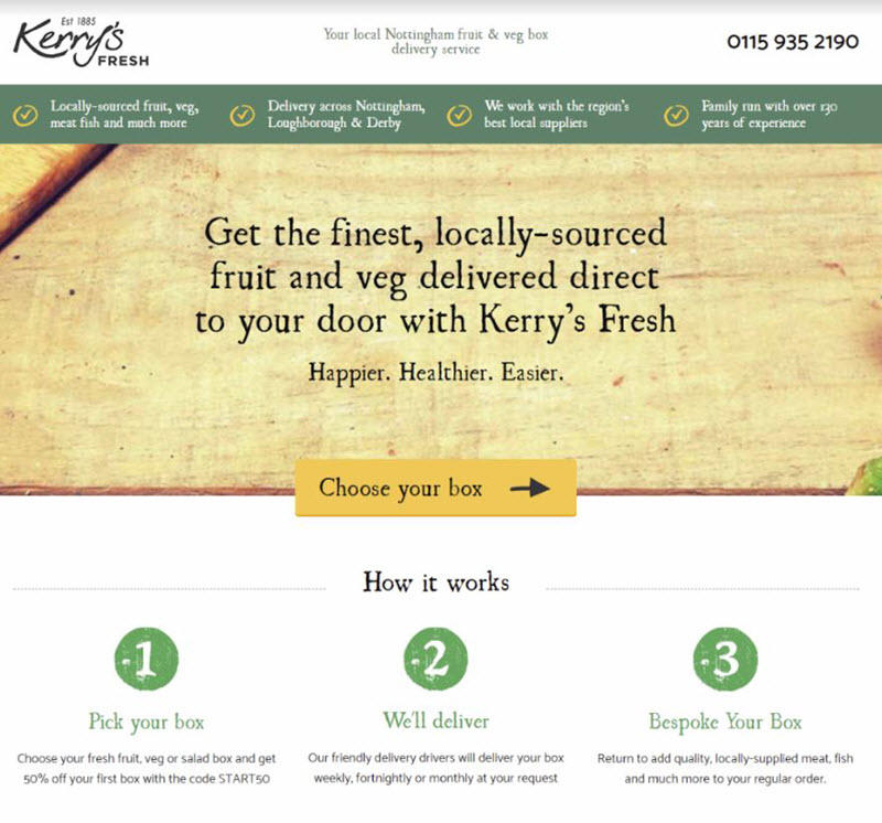 small local business landing page