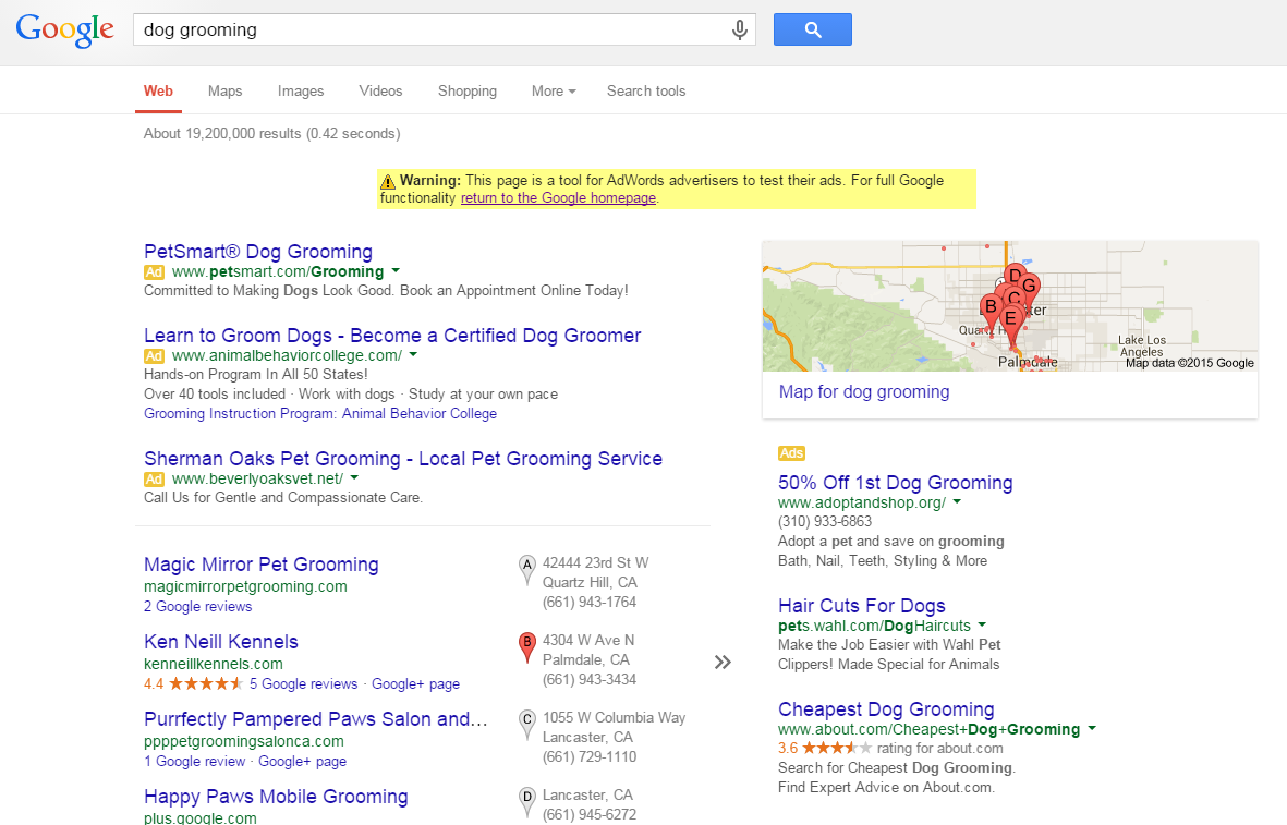 Keyword analysis dog grooming example