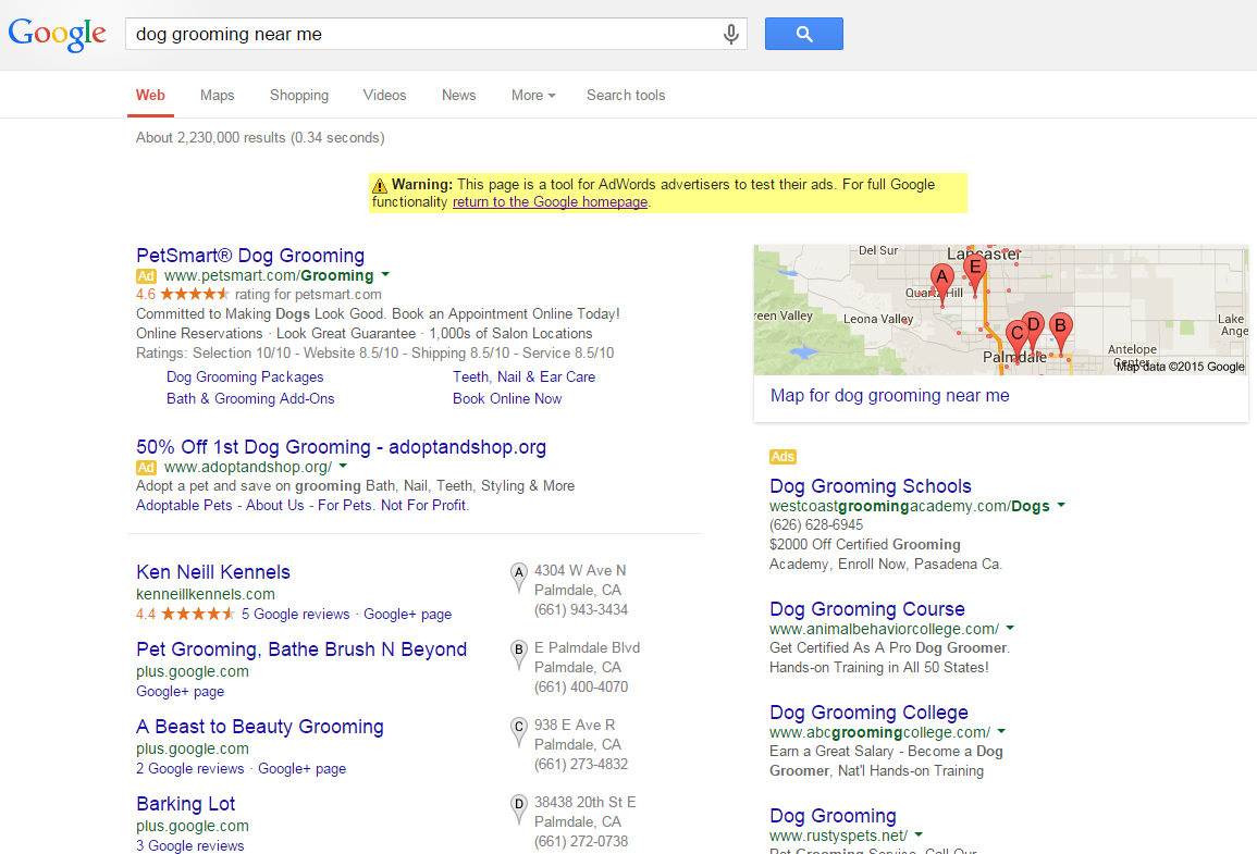 Keyword analysis local dog grooming example