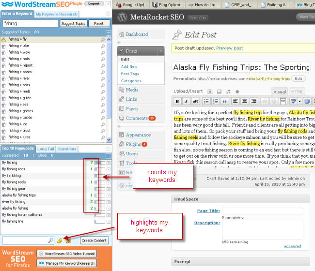 the firefox plugin counts and even highlights your keywords in your blog content