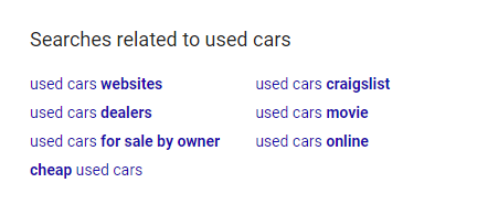 Keyword density used car related searches example