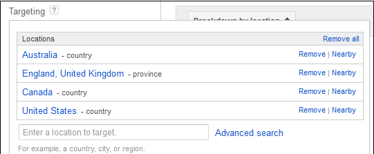 keyword geotargeting