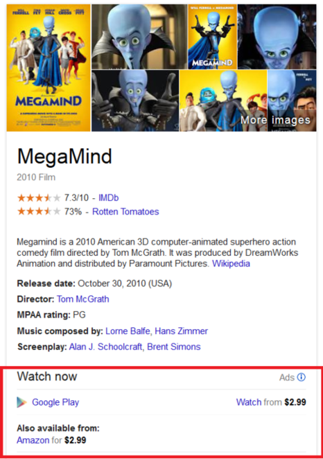 Google Play Ads in Knowledge Graph