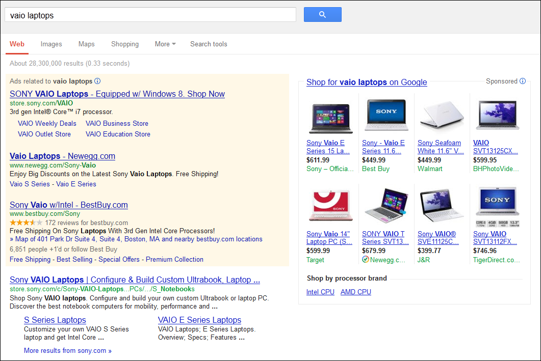 Knowledge Graph versus product listing ads