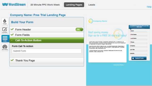 Streamlined landing page creation