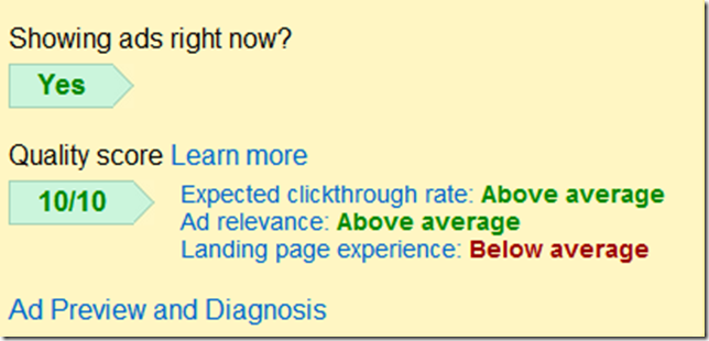 AdWords Landing Page Experience