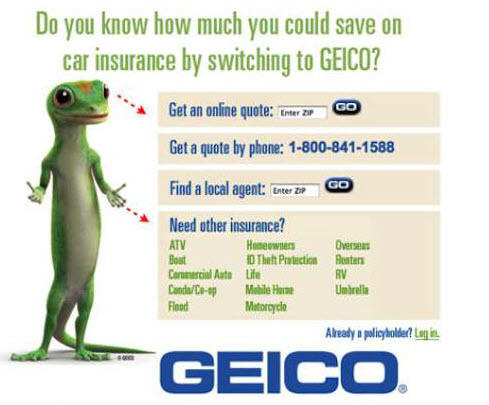 Landing page ideas directional cues Geico ad
