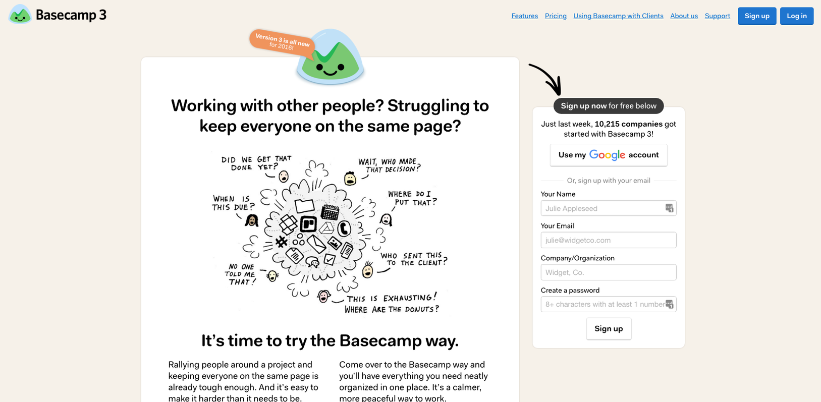 Landing page mistakes Basecamp example