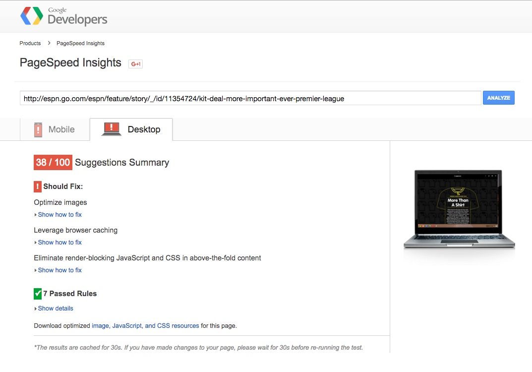 Landing page mistakes PageSpeed Insights