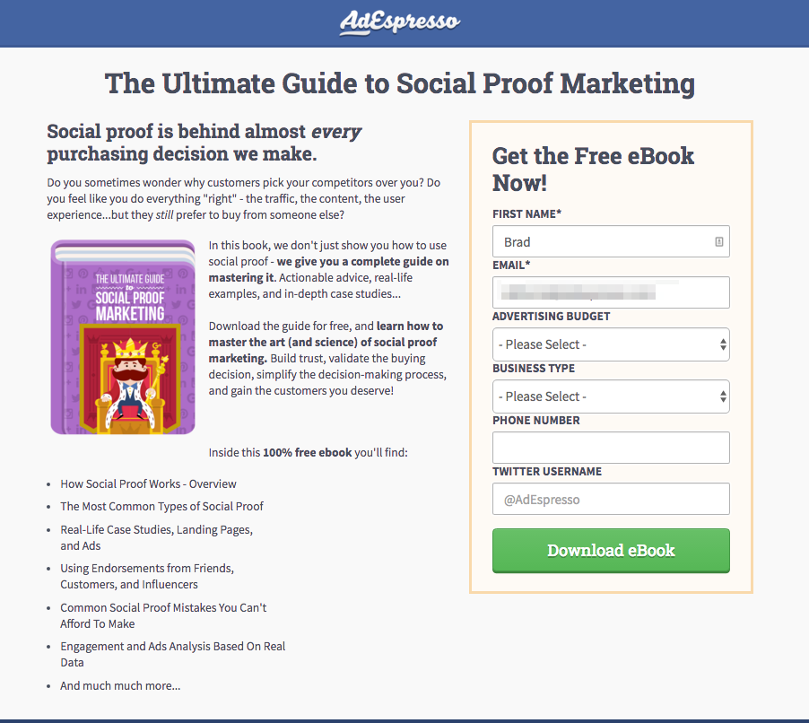 Landing page mistakes social proof