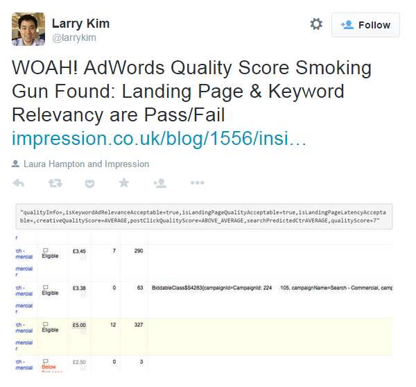 Landing page relevance Larry Kim Quality Score tweet