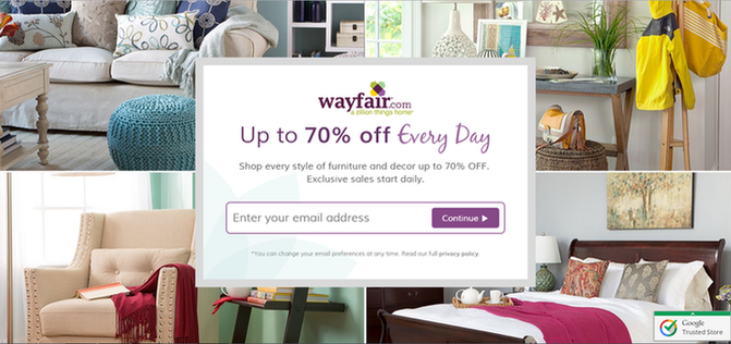 Landing page relevance Wayfair landing page