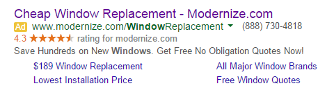 Landing page relevance window ad