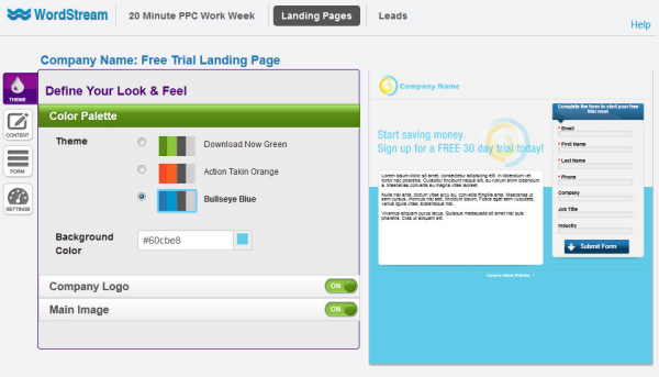 Personalized landing page themes