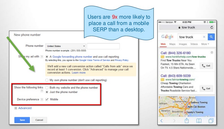 Landing page tips and tricks use Call-Only campaigns