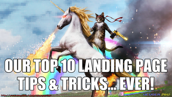 Landing page tips and tricks cat riding unicorn