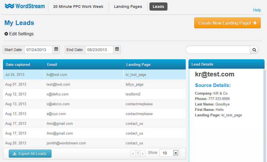 Landing page tracking software