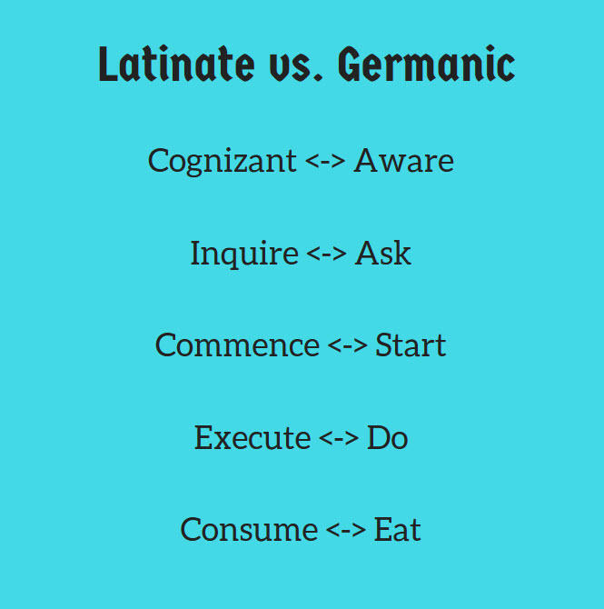 latinate versus germanic