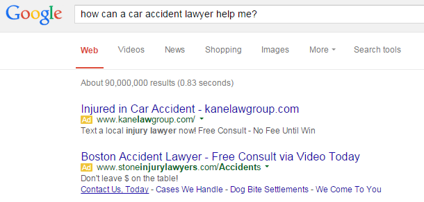 Law firm marketing screenshot of ads on the SERPs