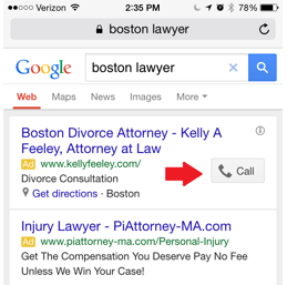 Law firm marketing screenshot of the call button in an ad on the SERPs