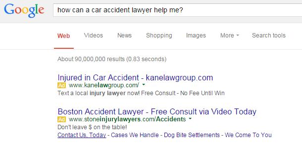 sample serp for lawyer adwords keywords