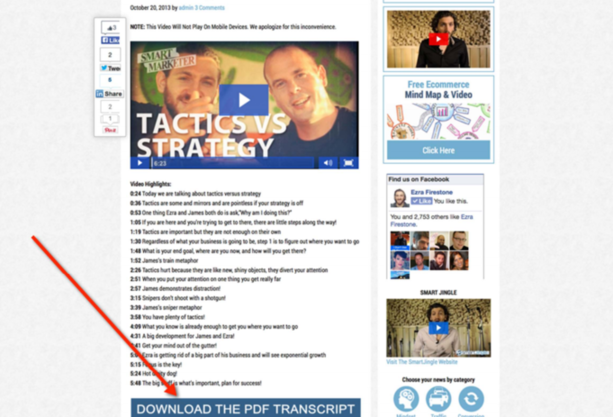 Lead generation strategies blog post with opt-ins enabled
