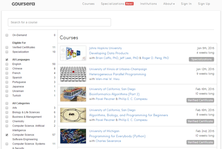 Learn coding for free Coursera courses