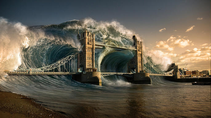 Learn Photoshop London Bridge tsunami