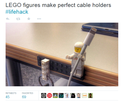 Get more retweets Lego lifehack cable holder