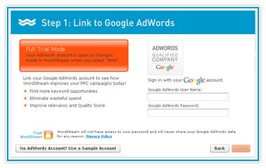 WordStream for PPC : Link WordStream to Google AdWords