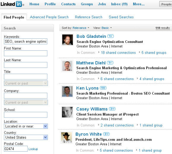 Using Linkedin to find other SEOs near you