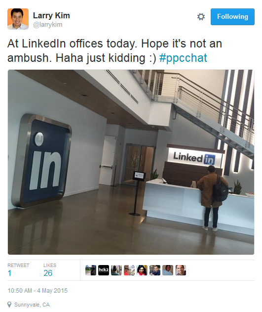 Larry Kim LinkedIn Ads office visit tweet