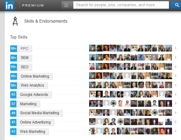 LinkedIn connections endorsements