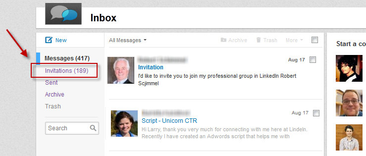LinkedIn connections invitations